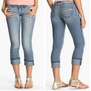 SILVER Santorini Low Rise Cropped Light Wash Blue Jeans